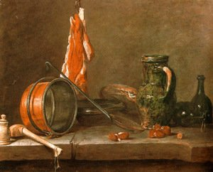 "Jean-Baptiste-Simeon Chardin - A ""Lean Diet"" with Cooking Utensils"