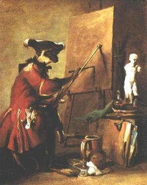 Jean-Baptiste-Simeon Chardin - The Monkey Painter, 1740