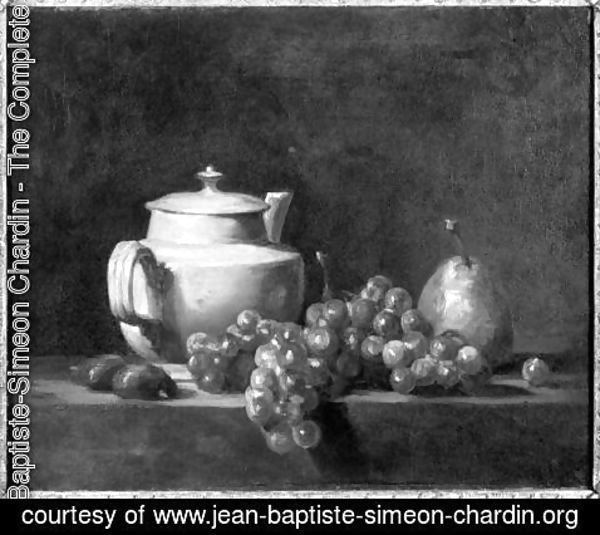 Jean-Baptiste-Simeon Chardin - White Teapot with Two Chestnuts, White Grapes and a Pear