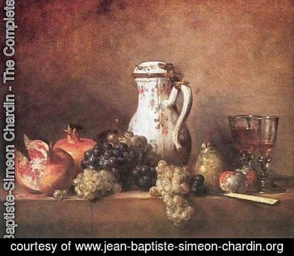 Jean-Baptiste-Simeon Chardin - Still Life with Grapes and Pomegranates, 1763
