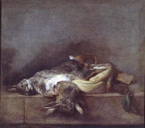 Jean-Baptiste-Simeon Chardin - Still Life with Rabbits, a Gamebag and a Powder Horn, c.1755
