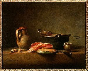 Jean-Baptiste-Simeon Chardin - Copper Cauldron with a Pitcher and a Slice of Salmon