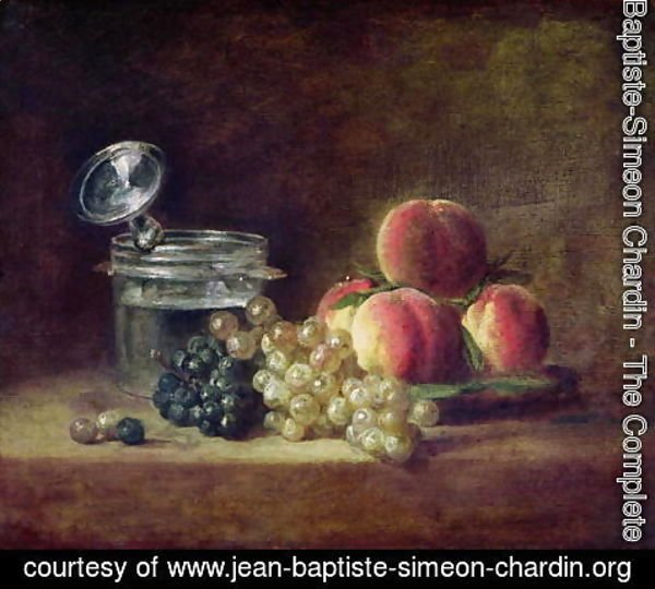 Jean-Baptiste-Simeon Chardin - Still Life with a Basket of Peaches, White and Black Grapes with Cooler and Wineglass, c.1759