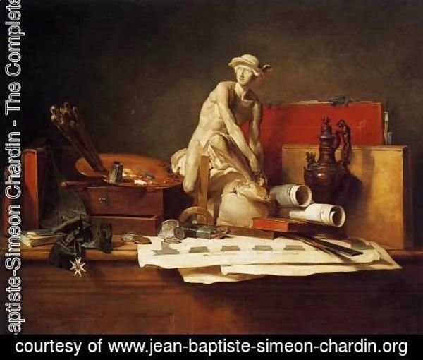Jean-Baptiste-Simeon Chardin - Still Life with the Attributes of the Arts, 1766