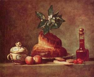 Jean-Baptiste-Simeon Chardin - The Brioche or The Dessert, 1763