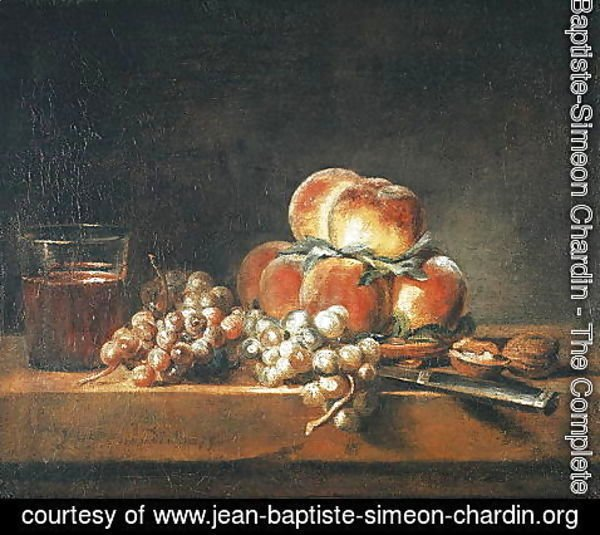 Jean-Baptiste-Simeon Chardin - Still Life of Peaches, Nuts, Grapes and a Glass of Wine, 1758