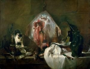 Jean-Baptiste-Simeon Chardin - The Ray or, The Kitchen Interior, 1728