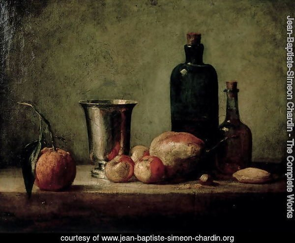 Still-life with Silver Beaker, Fruit and Bottles on a Table