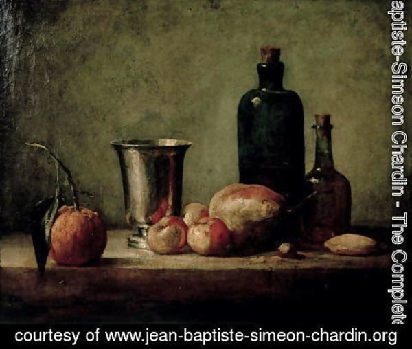 Jean-Baptiste-Simeon Chardin - Still-life with Silver Beaker, Fruit and Bottles on a Table