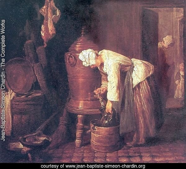 Woman Drawing Water from a Copper Cistern