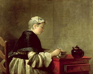 Jean-Baptiste-Simeon Chardin - A Lady Taking Tea, 1735