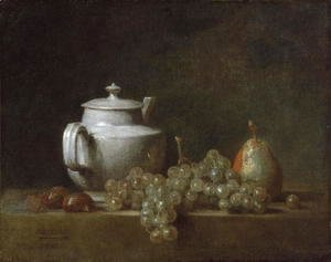 Jean-Baptiste-Simeon Chardin - Still Life with Tea Pot, Grapes, Chesnuts, and a Pear, c.1764