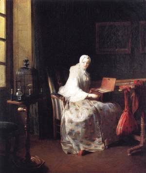 Jean-Baptiste-Simeon Chardin - The Bird Organ or A Woman Varying Her Pleasures