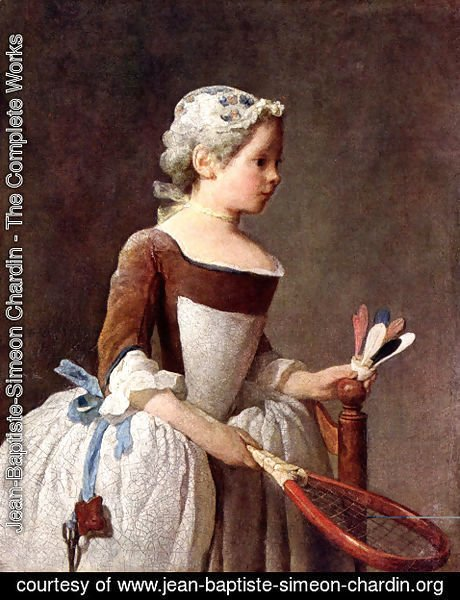 Jean-Baptiste-Simeon Chardin - Girl with Racket and Shuttlecock, c.1740