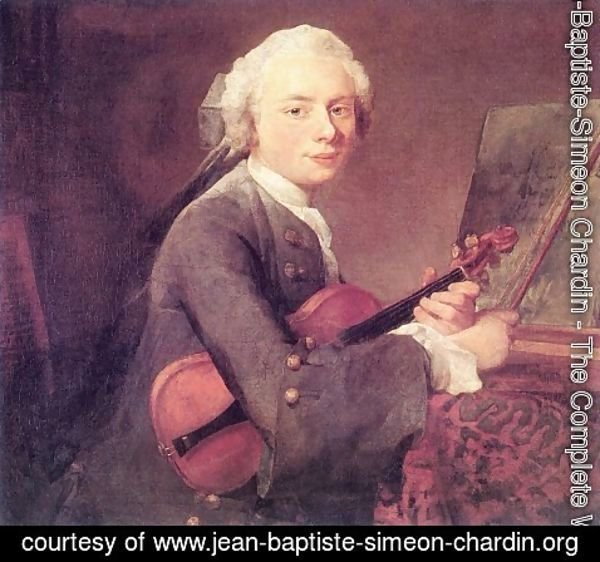 Jean-Baptiste-Simeon Chardin - Young Man with a Violin, or Portrait of Charles Theodose Godefroy (1718-96) c.1738