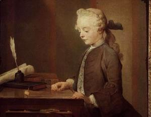 Jean-Baptiste-Simeon Chardin - The Child with a Teetotum, Portrait of Auguste-Gabriel Godefroy (1728-1813) 1741