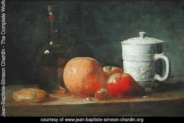 Still Life with Fruit and Wine Bottle