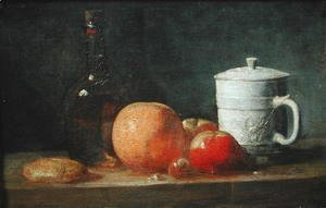 Jean-Baptiste-Simeon Chardin - Still Life with Fruit and Wine Bottle