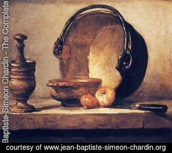 Jean-Baptiste-Simeon Chardin - Still Life with Pestle, Bowl, Copper Cauldron, Onions and a Knife