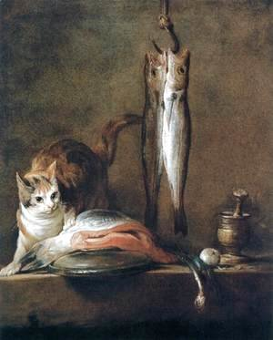 Jean-Baptiste-Simeon Chardin - Still-Life with Cat and Fish