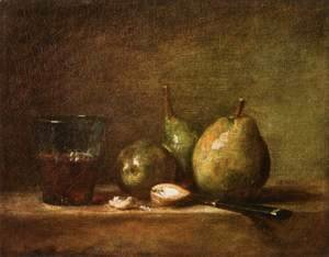 Jean-Baptiste-Simeon Chardin - Pears, Walnuts and Glass of Wine