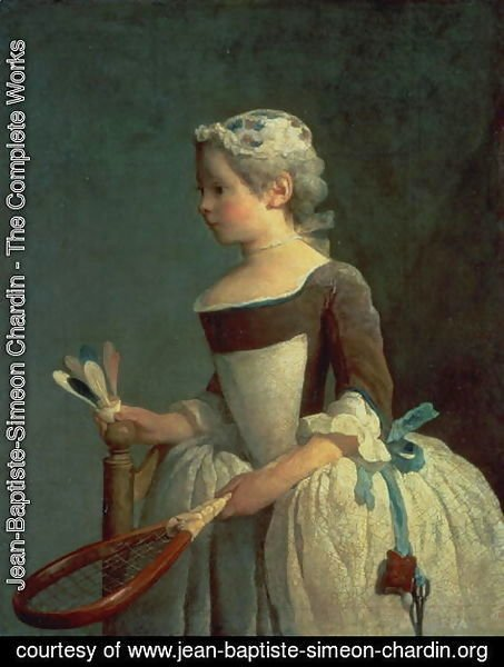 Jean-Baptiste-Simeon Chardin - Girl with Racket and Shuttlecock