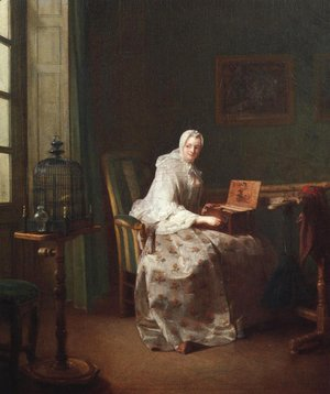 Jean-Baptiste-Simeon Chardin - Lady with a Bird Organ 1753