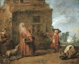 Peasants by a hut in a landscape