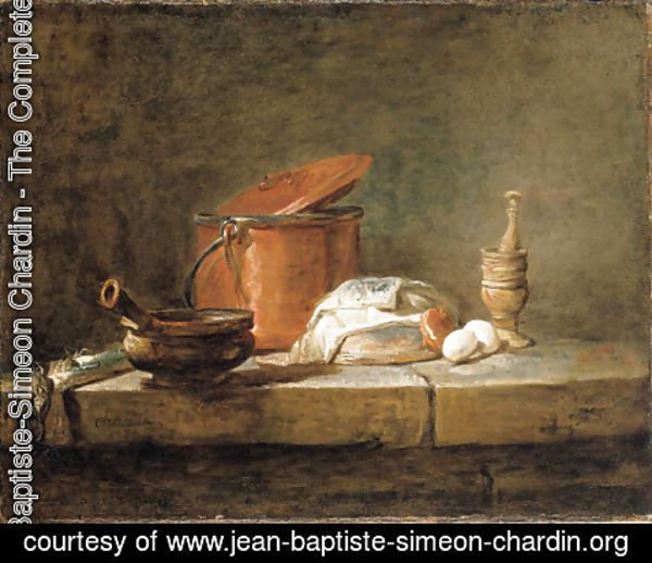 Jean-Baptiste-Simeon Chardin - Leeks, a casserole with a cloth, a copper pot and cover, an onion and eggs with a pestle and mortar, on a stone ledge