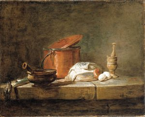 Leeks, a casserole with a cloth, a copper pot and cover, an onion and eggs with a pestle and mortar, on a stone ledge