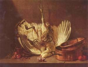 Jean-Baptiste-Simeon Chardin - Still life with suspended turkey