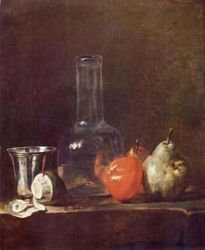 Jean-Baptiste-Simeon Chardin - Still Life with Glass Flask and Fruit