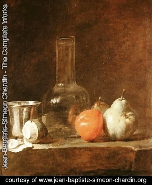 Jean-Baptiste-Simeon Chardin - Still Life With Carafe  Silver Goblet And Fruit