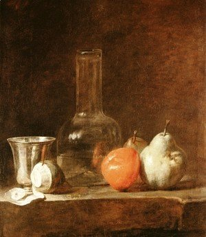 Still Life With Carafe  Silver Goblet And Fruit