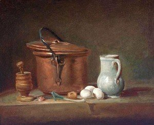 Jean-Baptiste-Simeon Chardin - Still Life With Copper Pan And Pestle And Mortar