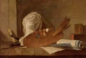 Jean-Baptiste-Simeon Chardin - The Attributes of Painting and Sculpture c. 1728