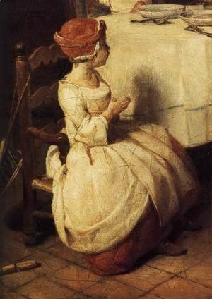 Jean-Baptiste-Simeon Chardin - The Prayer before Meal (detail) before 1740