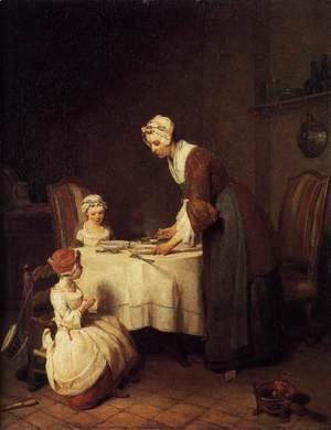 Jean-Baptiste-Simeon Chardin - The Prayer before Meal before 1740